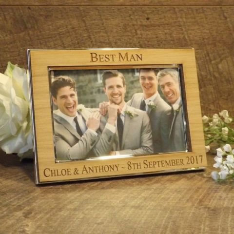 Personalised Best Man Usher Groomsman Photo Frame Oak Wood Veneer (ls)